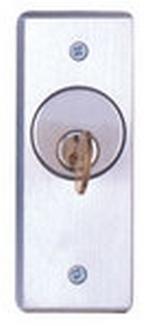 Camden Door Controls CM-2080 | Flush Mount Key Switch, Aluminum Narrow Faceplate, DPDT Momentary, Brushed Aluminum