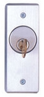 Camden Door Controls CM-2090-7212 | Flush Mount Key Switch, Narrow, DPDT Maintained, Red & Green 12V LEDs, Brushed Aluminum