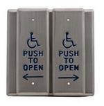 Camden Door Controls CM-2520/3 | Double Gang Vestibule Push Plate, 'PUSH TO OPEN', Bright Stainless Steel