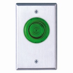 Camden Door Controls CM-3030G | Illuminated Green Mushroom Pushbutton, Single Gang, Push/Pull, N/O, Maintained, Blank Faceplate, Brushed Aluminum