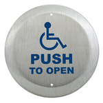 Camden Door Controls CM-40/4 | Round Push Plate Switch, SPDT, ADA Logo & PUSH TO OPEN Lettering, Bright Stainless Steel