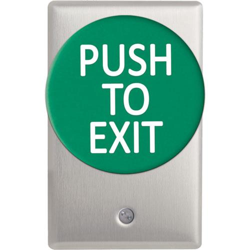 Camden Door Controls CM-5085GPTE | Mushroom Green Pushbutton (PUSH TO EXIT), Aluminum Faceplate, Single Gang, Spring Return, DPST Time Delay