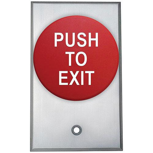 Camden Door Controls CM-5085RPTE | Red Mushroom Pushbutton, Single Gang, Spring Return, DPST, PUSH TO EXIT