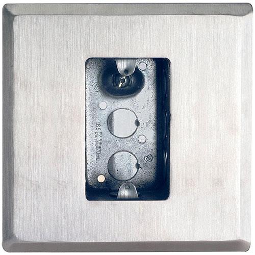 Camden Door Controls CM-66   Flush Mounting Box and Dress Plate, Single Gang, Standard Depth, Heavy Gauge Stainless Steel