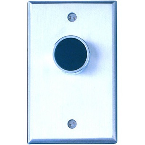 Camden Door Controls CM-7000G | Medium Duty Vandal Resistant Recessed Push Button, Blank Faceplate, Single Gang, Green Button, N/O, Momentary, Brushed Aluminum