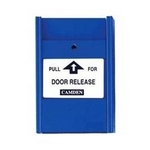 Camden Door Controls CM-701-PC | Pull Station, Blue, N/C Switch, PULL FOR DOOR RELEASE, Clear Lift Cover