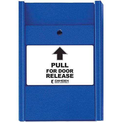 Camden Door Controls CM-701 | Pull Station, Blue, N/C Switch, PULL FOR DOOR RELEASE