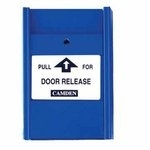 Camden Door Controls CM-702BE-PC | Blue Pull Station, 2 N/C Switches, English and French, Clear Lift Cover