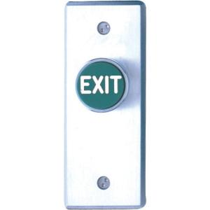 Camden Door Controls CM-7185GE   Medium Duty Vandal Resistant Recessed Push Button, DPST, Time Delay, Narrow, Green Button (EXIT), Blank Faceplate, Brushed Aluminum