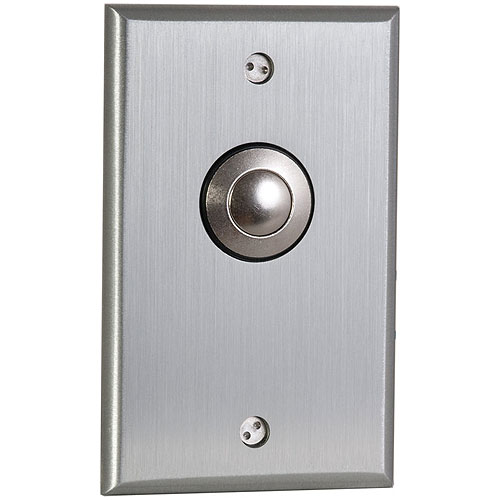 Camden Door Controls CM-9080 | Mechanical Vandal Resistant Push/Exit Switch, Blank Faceplate, Single Gang, DPDT Momentary, Brushed Aluminum