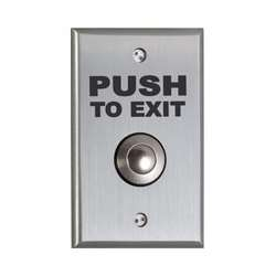 Camden Door Controls CM-9080PTE | Mechanical Vandal Resistant Push/Exit Switch, PUSH TO EXIT, Single Gang, DPDT Momentary, Brushed Aluminum
