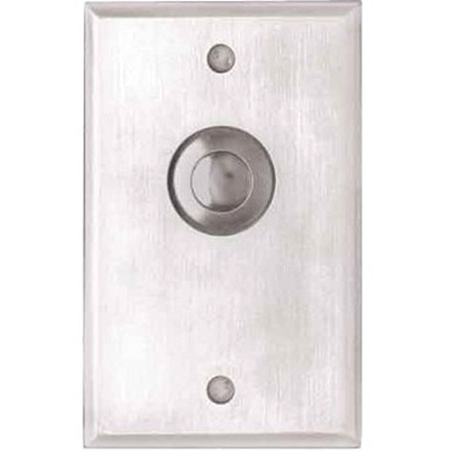 Camden Door Controls CM-9090   Mechanical Vandal Resistant Push/Exit Switch, Blank Faceplate, Single Gang, DPDT Maintained, Brushed Aluminum