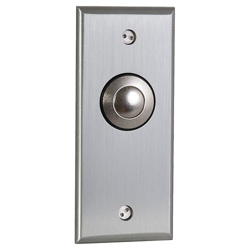 Camden Door Controls CM-9180   Mechanical Vandal Resistant Push/Exit Switch, Blank Faceplate, Narrow, DPDT Momentary, Brushed Aluminum