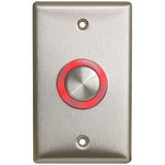 Camden Door Controls CM-9600 | Illuminated Piezoelectric Push/Exit Switch, Single Gang, Blank Faceplate, Bright Stainless Steel
