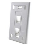 Commscope 1-1375155-1   Faceplate, 2 port, angled, flush mount, electric ivory
