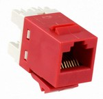 Commscope 1375191-7   SL110 Series Modular Jack, 8-position, RJ45, category 5e, T568A/T568B, unshielded, without dust cover, red