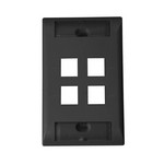 Commscope 2111011-2   Faceplate Kit, labeled, 1-gang, 4 port, vertical orientation, black