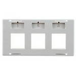 Commscope 6644 1 143-03   Furniture Faceplate, 3 port, with labels and icons, gray