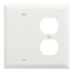 Legrand TP138W | Pass and Seymour | Combination Openings, 1 Blank & 1 Duplex Receptacle, Two Gang, White