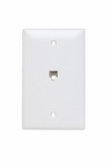 Legrand TPTE1W | On-Q | Communication Device, Single Gang Opening Modular Four Conductor Telephone Jack with Wall Plate, White