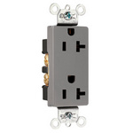 Legrand 26352-GRY | Pass and Seymour | Heavy-Duty Decorator Spec Grade Receptacles, Back & Side Wire, 20A, 125V, Gray