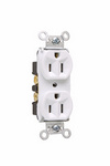 Legrand 5262-W | Pass and Seymour | Hard Use Spec Grade Receptacle, Back & Side Wire, 15A, 125V, White
