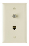 Legrand TPTELTV | On-Q | Communication Device, Combination F Type Coaxial Connector and Four Conductor RJ11 Telephone Jack, Brown