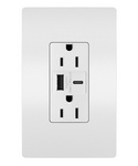 Legrand R26USBACW   Radiant Collection   Radiant 15A Tamper-Resistant USB Type A/C Outlet, White