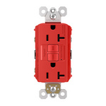 Legrand 2097-RED | Radiant Collection | Radiant Spec-Grade 20A Self-Test GFCI Receptacle, Red
