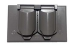 Legrand CA8-GH | Pass and Seymour | Cast Weatherproof Cover Duplex Receptacle Horizontal, Gray