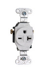 Legrand 5851-W | Pass and Seymour | Heavy-Duty Spec Grade Single Receptacles, Side Wire, 20A, 250V, White