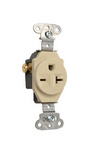 Legrand 5851-I | Pass and Seymour | Heavy-Duty Spec Grade Single Receptacle, Side Wire, 20A, 250V, Ivory