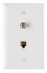 Legrand TPTELTVW | On-Q | Communication Device, Combination F Type Coaxial Connector and Four Conductor RJ11 Telephone Jack, White