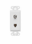 Legrand 26TELTVWCC10 | On-Q | Communication Device, Combination F type coaxial connector and four conductor RJ11 telephone jack, White