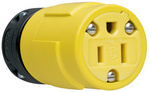 Legrand 1547 | Pass and Seymour | 15A, 125V Rubber Dust-Tight Connector, Yellow