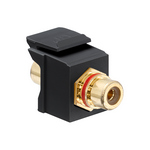 Leviton 40830-BEE | RCA Feedthrough QuickPort Connector, Gold-Plated, Black Stripe, Black Housing