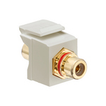 Leviton 40830-BIR | RCA Feedthrough QuickPort Connector, Gold-Plated, Red Stripe, Ivory Housing