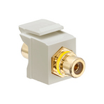 Leviton 40830-BTE | RCA Feedthrough QuickPort Connector, Gold-Plated, Black Stripe, Light Almond Housing