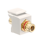 Leviton 40830-BTR | RCA Feedthrough QuickPort Connector, Gold-Plated, Red Stripe, Light Almond Housing