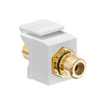 Leviton 40830-BWE | RCA Feedthrough QuickPort Connector, Gold-Plated, Black Stripe, White Housing