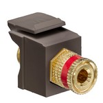 Leviton 40833-BBR | Binding Post QuickPort Coupler, Red Stripe, Brown Housing