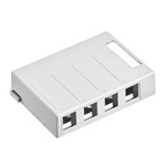Leviton 41089-4WP | Surface-Mount QuickPort Box, 4-Port, White