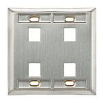 Leviton 43080-1S6 | Stainless Steel QuickPort Wallplate, Single Gang, 6-Port
