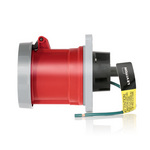 Leviton 460P7W | 60 Amp, 480 Volt 3-Phase, 3P, 4W, North American-Rated Pin & Sleeve Plug, Industrial Grade, IP67, Watertight - RED