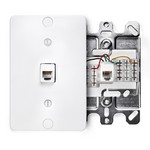 Leviton 40253-W | Telephone Wall Phone Jack, 6P4C, Quick Connect, White