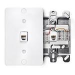 Leviton 40249-W | Standard Telephone Wall Jack, 6P4C, Screw Terminals, White