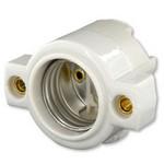 Leviton 9885 | Medium Base, One-Piece, Keyless, Incandescent, Unglazed Porcelain Lampholder, Front Mount, Single Circuit, Back Wired, White