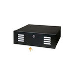 Mier Products BW-201-12V | NEMA Type 1 Indoor 16 inch (W) x 5 inch (H) x 16 inch (D) DVR LockBox  with 12V Fan - Black | UPC - 612212024882