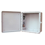 Mier Products BW-242410ACE | NEMA Type 4 x Outdoor 24 inch (W) x 24 inch (H) x 10 inch (D) Polycarbonate Electrical Enclosure with Thermostat and AC Unit - Gray - Solid Door | UPC - 612212083124
