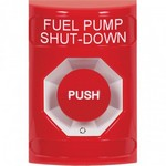 Safety Technology Intl (S.T.I.) SS2001PS-EN | Red No Cover Turn-to-Reset Stopper Station with FUEL PUMP SHUT DOWN Label English